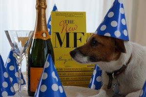 Mary Marcus's Jack Russel Terrier, Henry, in a party hat for The New Me launch party