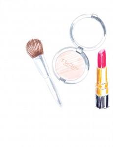 powder, lipstick, fashionista, fred segal, makeup, red lipstick, red